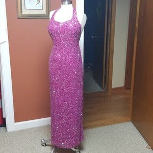 Scala hot pink silk beaded sequin gown